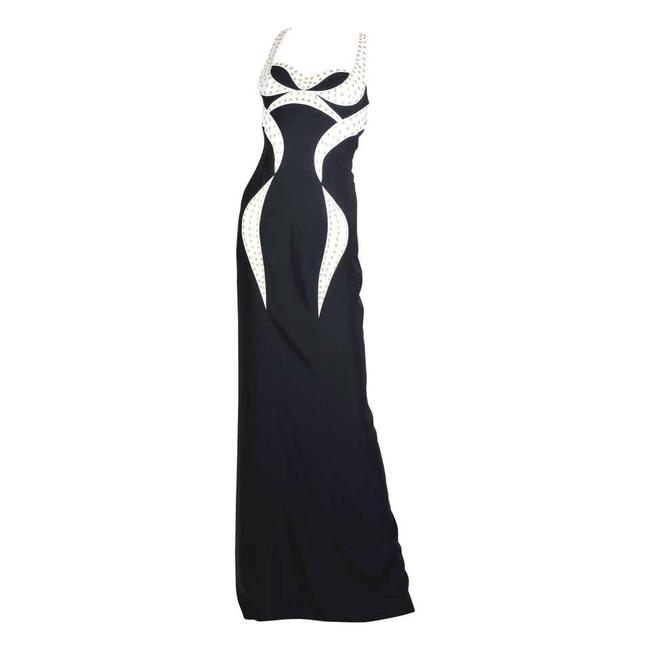 Item - Black and White New Eyelet-studded Gown Long Night Out Dress Size 2 (XS)