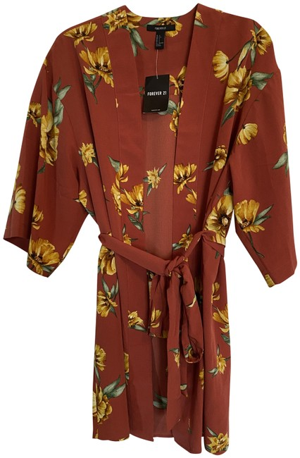 Item - Rust Yellow Red Kimono Floral Blouse Size 4 (S)