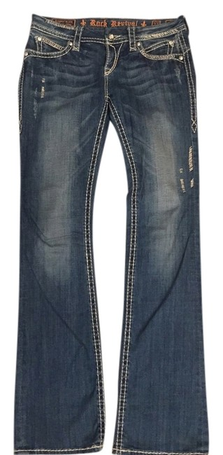 Item - Blue Distressed May Boot Cut Jeans Size 27 (4, S)