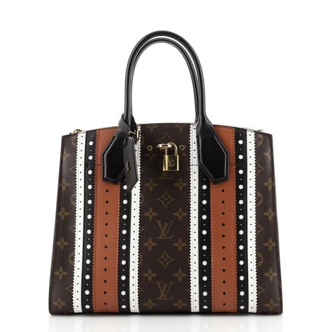 Item - City Steamer Handbag Limited Edition Brogue Monogram and Leathe Brown Multicolor Coated Canvas Tote