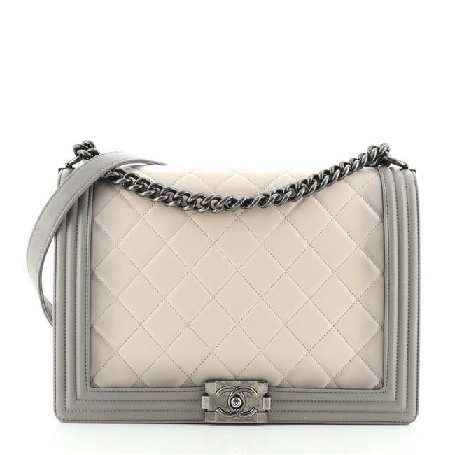 Item - Classic Flap Ombre Boy Quilted Calfskin Large Gray Leather Cross Body Bag