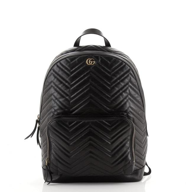 Item - Marmont Gg Pocket Matelasse Medium Black Leather Backpack