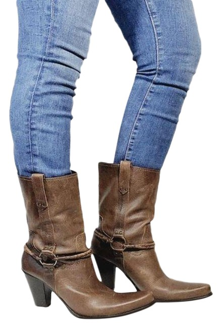 Item - Brown Leather Harness Boots/Booties Size US 9 Regular (M, B)