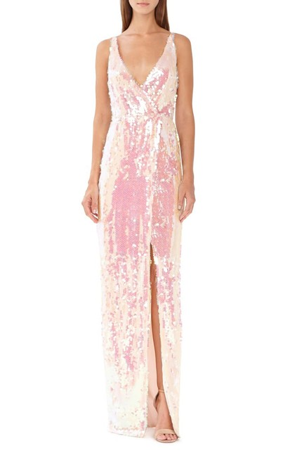 Item - Light Pink Sequin Surplice Column Gown Long Formal Dress Size 4 (S)