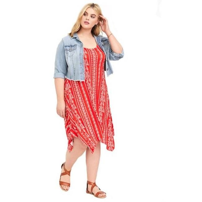 Item - Red Jersey Stripe Trapeze Handkerchief Mid-length Casual Maxi Dress Size 12 (L)