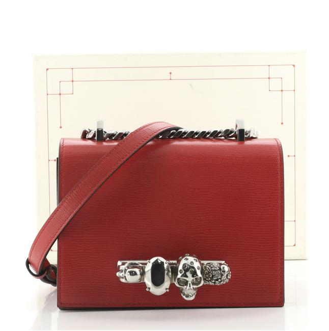 Item - Jewelled Flap Satchel Lizard Embossed Small Red Leather Cross Body Bag