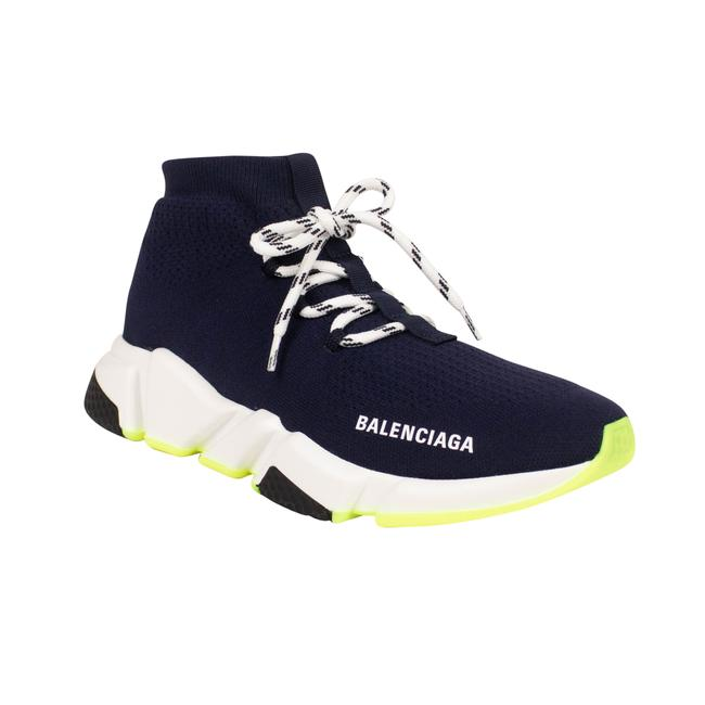 Item - Navy Blue 'neon Lace Up Speed' Sneaker Boots/Booties Size EU 38 (Approx. US 8) Regular (M, B)