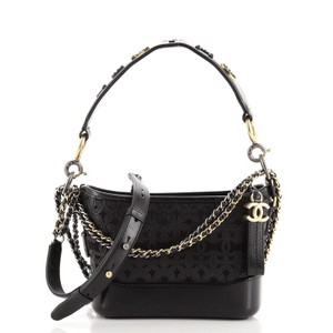 Item - Gabrielle With Logo Handle Laser Cut Calfskin and Wool Felt Small Black Leather Hobo Bag