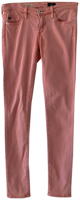 Item - Orange Coral Light Wash The Legging Ankle Super 24r Skinny Jeans Size 24 (0, XS)