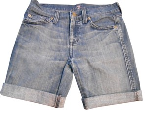 7 For All Mankind Shorts Denim Blue Distressed