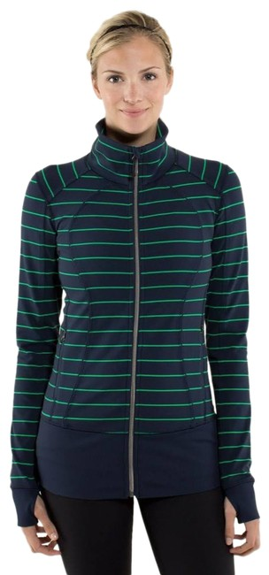 Item - Navy Blue and Green Asana Activewear Outerwear Size 6 (S)