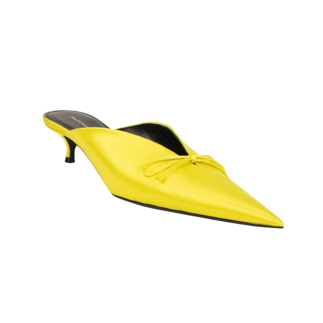 Item - Yellow Satin Knife Heel Mules/Slides Size EU 39.5 (Approx. US 9.5) Regular (M, B)