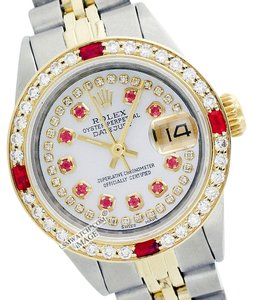 Rolex WOMENS ROLEX DATEJUST MOTHER OF PEARL STRING DIAMOND & RUBY WATCH