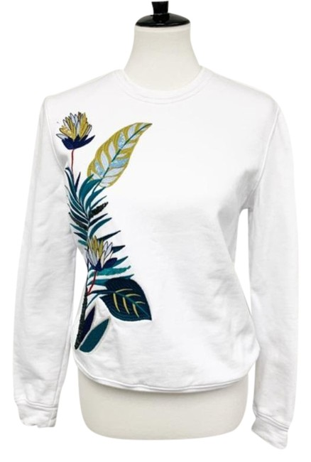 Item - Embroidered Sequin Sweatshirt White Green Sweater