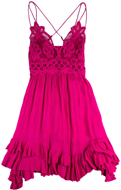 Item - Pink Strappy Lace Slip Short Casual Dress Size 4 (S)