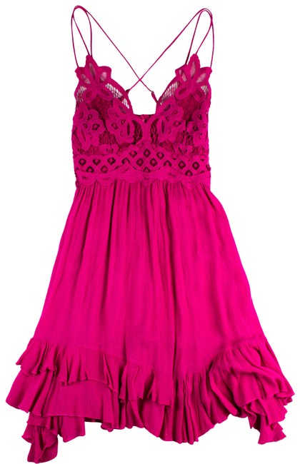 Item - Pink Strappy Lace Slip Short Casual Dress Size 8 (M)