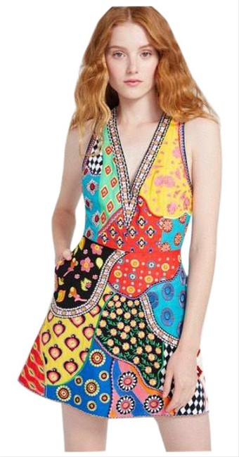 Item - Yellow Patchwork Embellished Beaded Short Cocktail Dress Size 2 (XS)