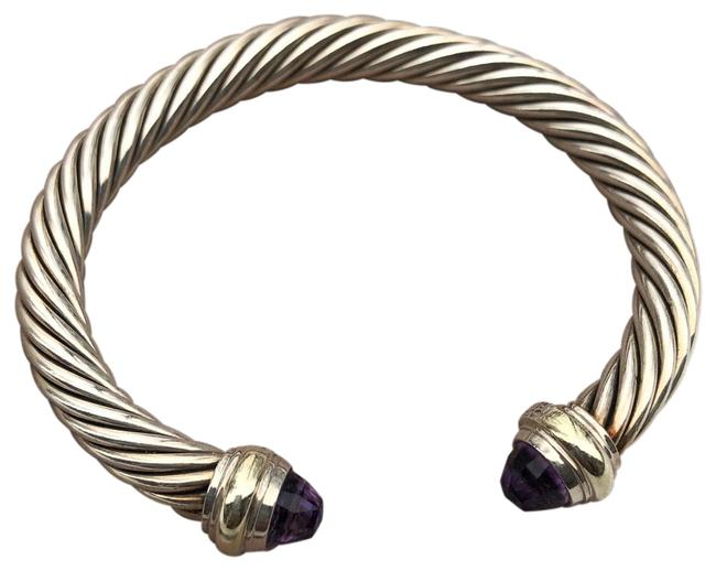 Item - Silver Gold Lavender W 7mm Cable Cuff W/Gold Bracelet