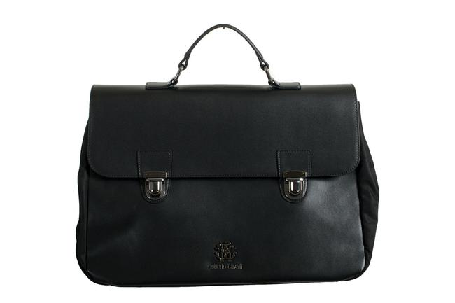 Item - Men's Gunmetal Tone-logo Briefcase Ba Black Leather/Canvas Messenger Bag