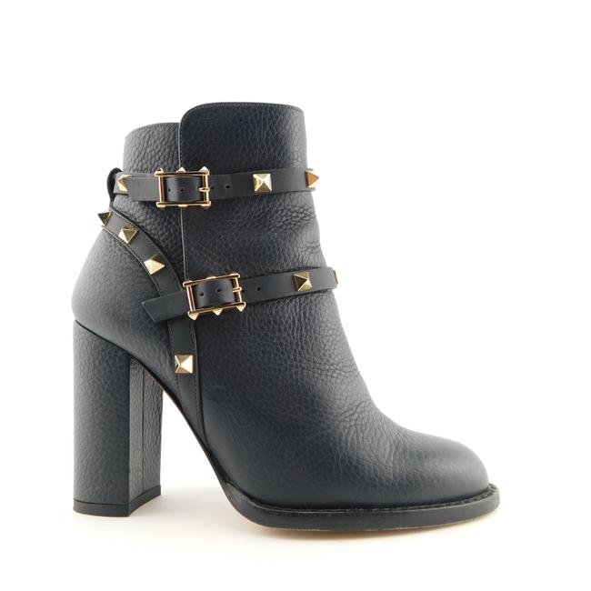Item - Midnight Blue Leather Rockstud Strap Block-heel Ankle Boots/Booties Size EU 35 (Approx. US 5) Regular (M, B)