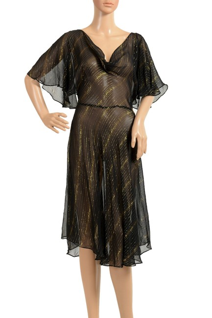 Item - Black/Gold Women's Silk See Through Fit & Flare Mid-length Short Casual Dress Size 4 (S)