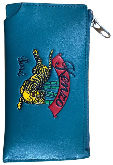 Item - Blue Zipped Jumping Tiger Cardholder Wallet