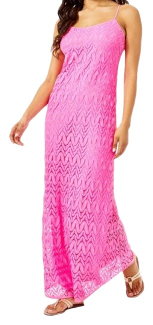 Item - Pink Avalon Lace Maxi Long Cocktail Dress Size 4 (S)
