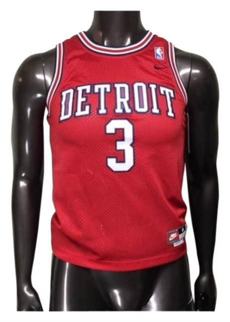 Item - Red Jersey Pistons Ben Wallace Activewear Top Size 4 (S)