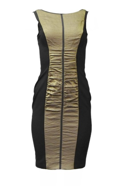 Item - Black/Bronze Combo Fabric Body Conscious Short Cocktail Dress Size 6 (S)