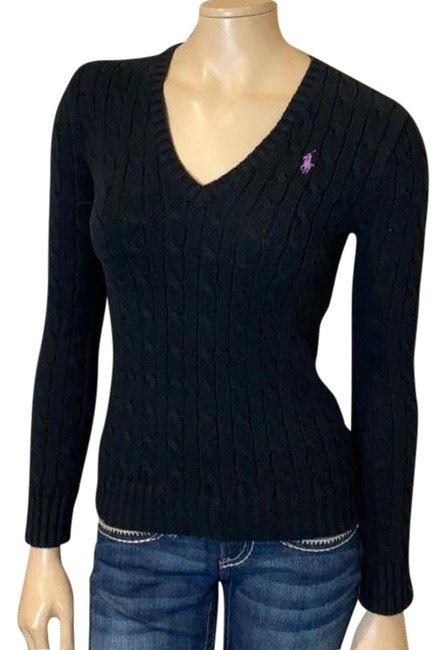 Item - Sport Cable Knit Neck Black Sweater