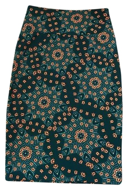 Item - Green Orange XS Cassie Damask Floral Skirt Size 2 (XS, 26)