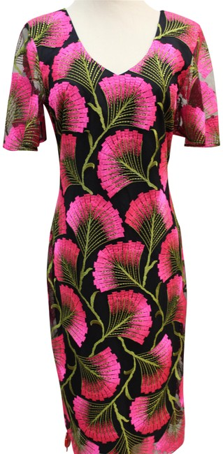 Item - Pink/Black Embroidered Short Casual Dress Size 2 (XS)