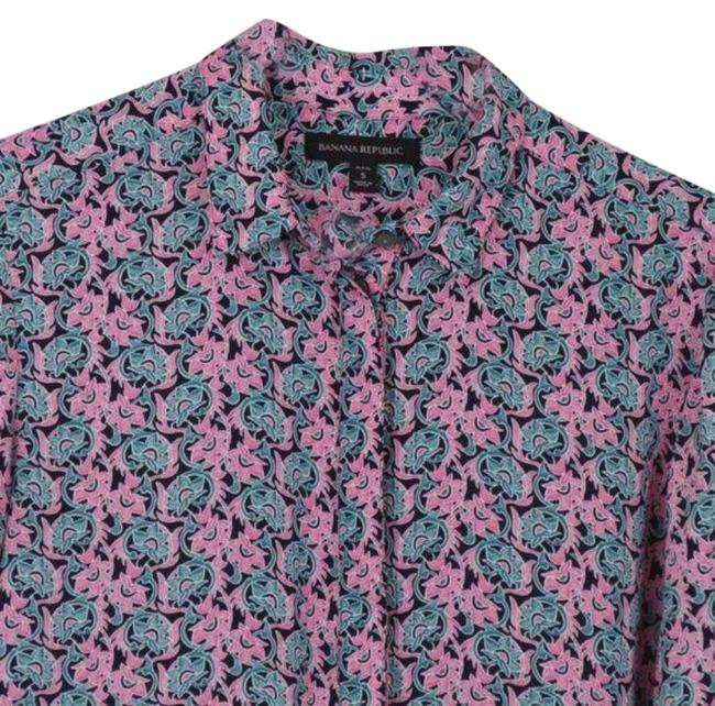 Item - Pink Green Button-down Top Size Petite 4 (S)