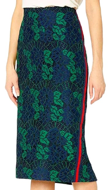 Item - Blue/Green Lace Pencil Skirt Size 10 (M, 31)