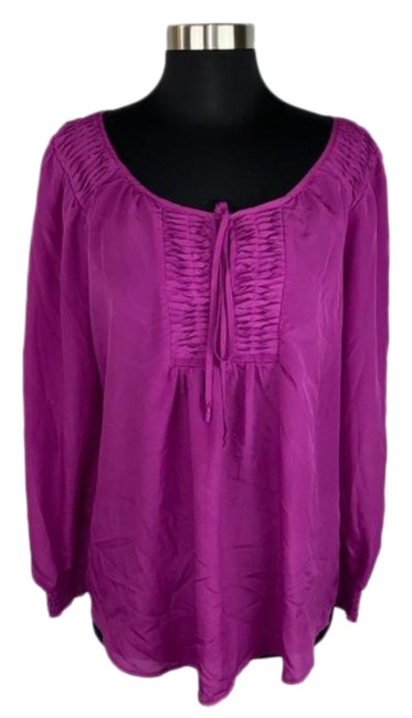 Item - Purple Pleated Smocked Tie Front Blouse Size 8 (M)