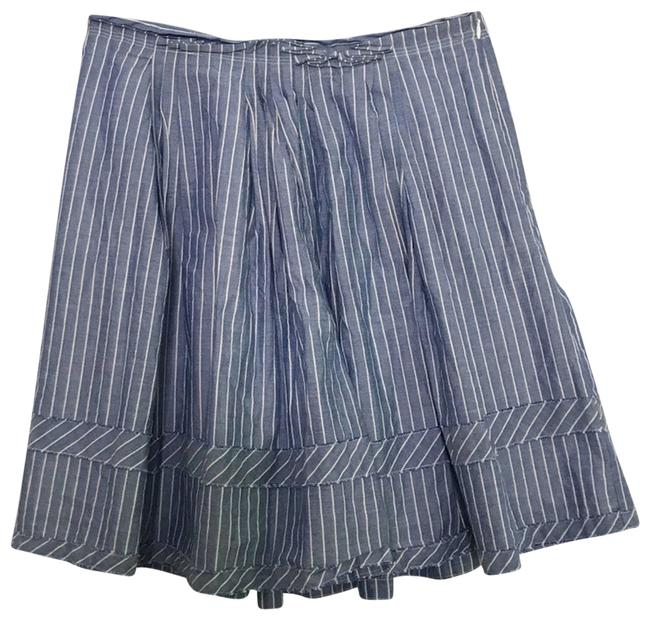 Item - Blue Pleated Striped White Cotton Skirt Size 2 (XS, 26)