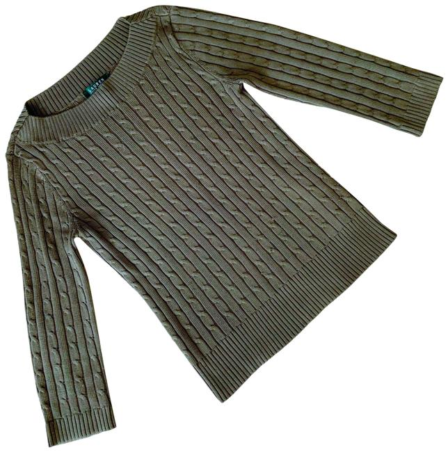 Item - Cable Knit Silk Blend Olive Green Sweater
