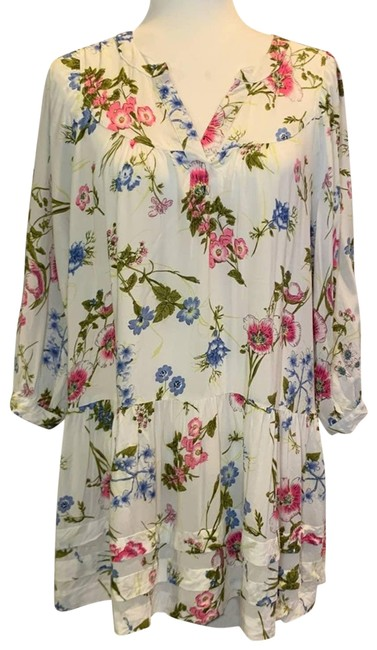 Item - White Boho Floral Long Sleeve Babydoll Lg Short Casual Dress Size 14 (L)