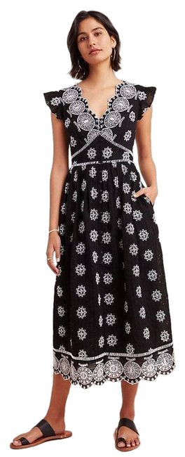 Item - Black New Ranna Gill Tomine Embroidered Eyelet Midi Short Casual Dress Size 2 (XS)