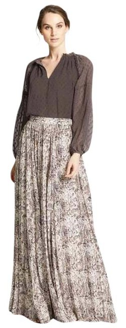 Item - Brown New Marie Oliver Wesley Pleated Snake-print Skirt Size 6 (S, 28)