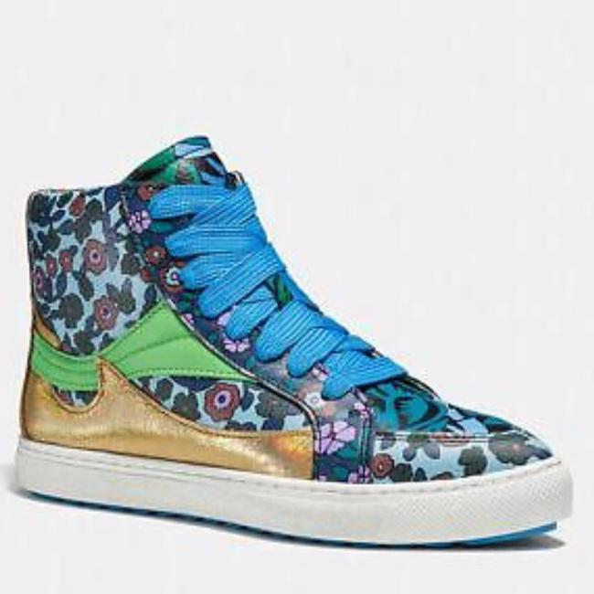 Item - Blue C203 Floral High Top New Sneakers Size US 6 Regular (M, B)