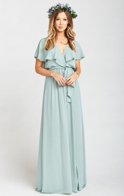 Item - Green Chiffon Audrey Silver Sage Casual Bridesmaid/Mob Dress Size 6 (S)