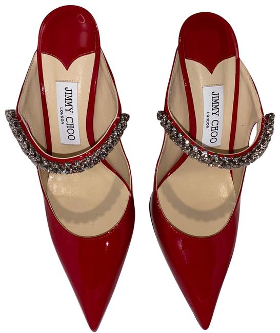 Item - Red Bing Embellished Patent Leather Mules Formal Shoes Size US 8.5 Regular (M, B)