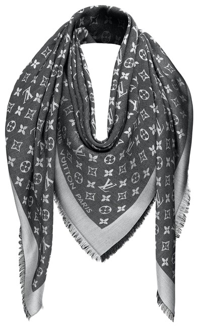Item - Black and Gray Monogram Denim Shawl Scarf/Wrap