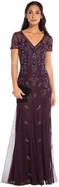 Item - Night Plum Beaded Godet Gown with Sheer Short Sleeves Long Formal Dress Size 4 (S)