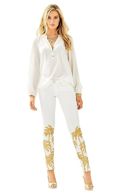 Item - White Coated South Gold Palm Tree Skinny Jeans Size 29 (6, M)