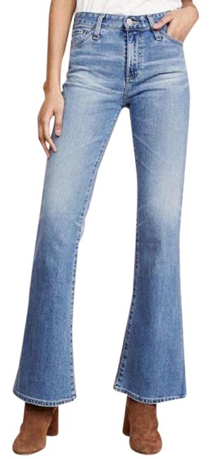 Item - Blue White Distressed Anthropologie The Quinne High Rise Waist Flare Trouser/Wide Leg Jeans Size 29 (6, M)