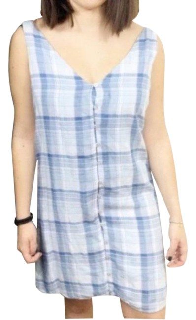 Item - Blue White XS Cloth and Stone Plaid Short Casual Dress Size 0 (XS)