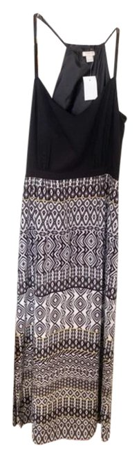 Item - White Black With Printed Skirt Long Casual Maxi Dress Size 6 (S)