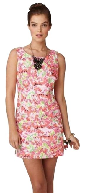Lilly Pulitzer Pink Green Delia Call Me Kitty Cat Print Shift Short Casual Dress Size 14 (L) Lilly Pulitzer Pink Green Delia Call Me Kitty Cat Print Shift Short Casual Dress Size 14 (L) Image 1
